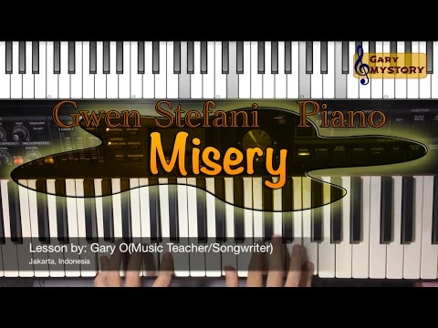 Misery - Gwen Stefani Easy Piano Tutorial Cover Backtrack Singing Keyboard Lesson Free Sheet Music