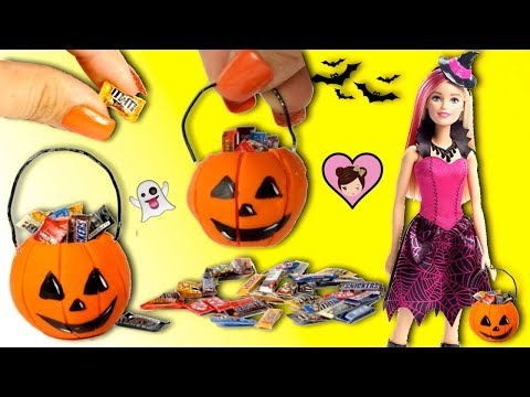 Barbie Doll Halloween Miniature Pumpkin DIY - Trick or Treating Candy