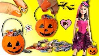 Barbie Doll Halloween Miniature Pumpkin DIY - Trick or Treating Candy