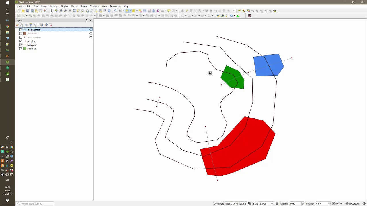 QGIS 3: maskiranje (prekid) izohipsi sa kotom