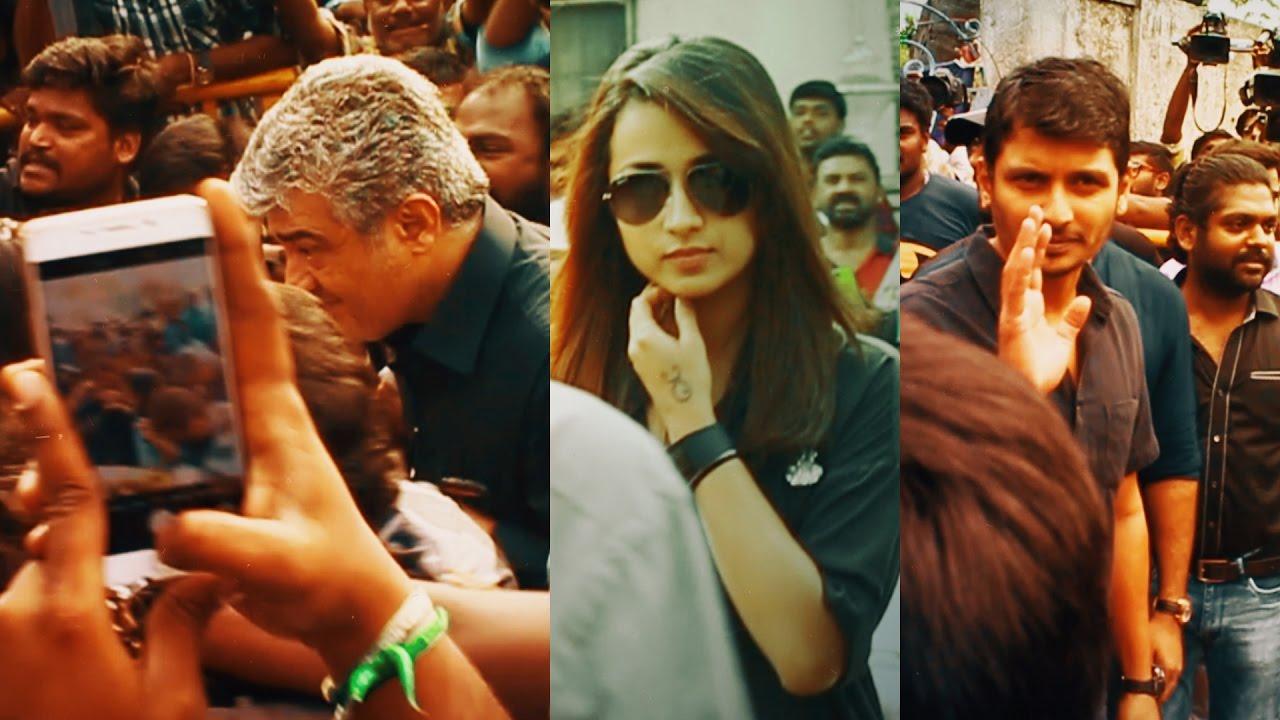 Movie stars at the Silent Jallikattu protest   Latest Coverage
