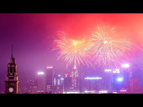 Fireworks light up sky over Hong Kong