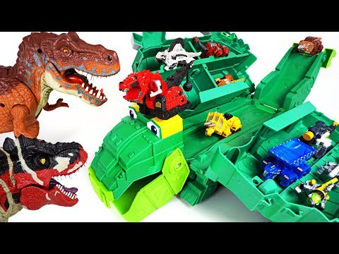 Terrible dinosaurs appeared! Dinotrux stego storage Garby transform track playset! Go! - DuDuPopTOY