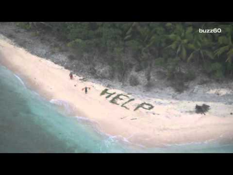 """Men Stranded on Desert Island Rescued After Writing """"Help"""" in Sand"""