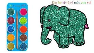 Gambar cover Vẽ con voi | Tô màu con voi | Dạy bé màu sắc bằng tiếng anh | How to draw elephant