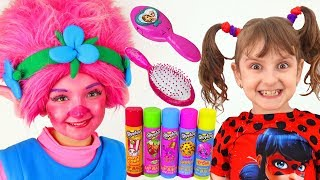 Kids Makeup & cosplay SUPER ELSA and Little girl toddlers Play with Princess & DRESS UP
