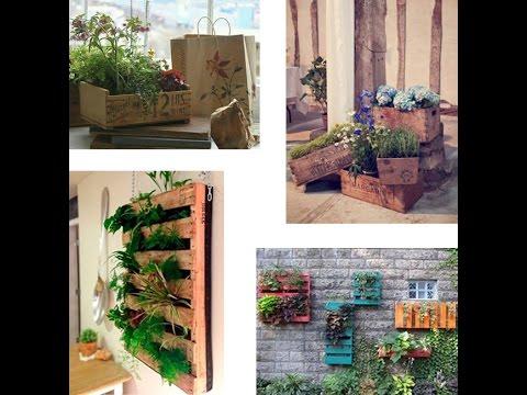 Como hacer un jardin vertical con palets youtube for Jardin colgante con palets
