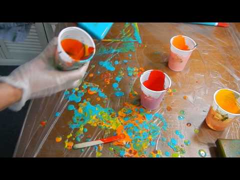 ( 127 ) Acrylic pouring Turquoise blue red orange yellow Part 2
