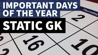 Important days of the year - January to December - Static GK
