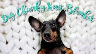 DIY Super Chunky Knit Throw Blanket