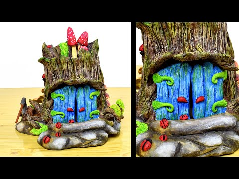 DIY Fairy Garden Log House | Fairy Door Tree | Paper Clay Tutorial