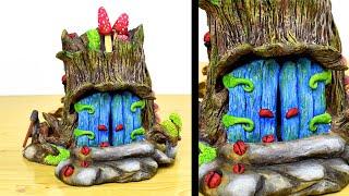DIY Fairy Garden Log House | Fairy Door Tree | Paper Clay Tutorial