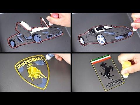 Sports Car & Logo Pancake Art - Lamborghini Aventador, Ferrari 458