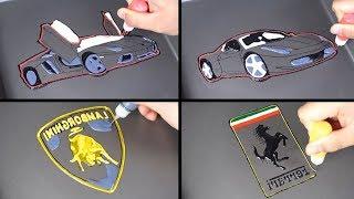 Sports car &amp Logo pancake art - lamborghini aventador, ferrari 458