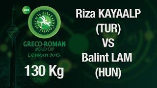 Group B, Round 2 - Greco-Roman Wrestling 130 kg - B. LAM (HUN) vs R. KAYAALP (TUR) - Tehran 2015