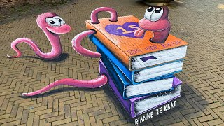 3D Street art - Bookworm by Rianne te Kaat