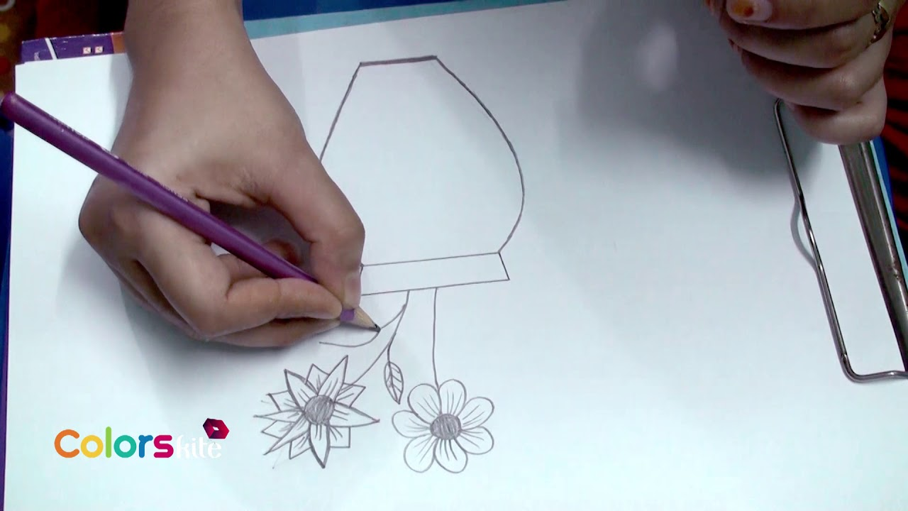 How To Draw A Very Easy Flower Vase With Flower For Kids Youtube