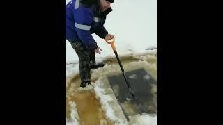 зимняя рыбалка ставим прогон дедовским способом