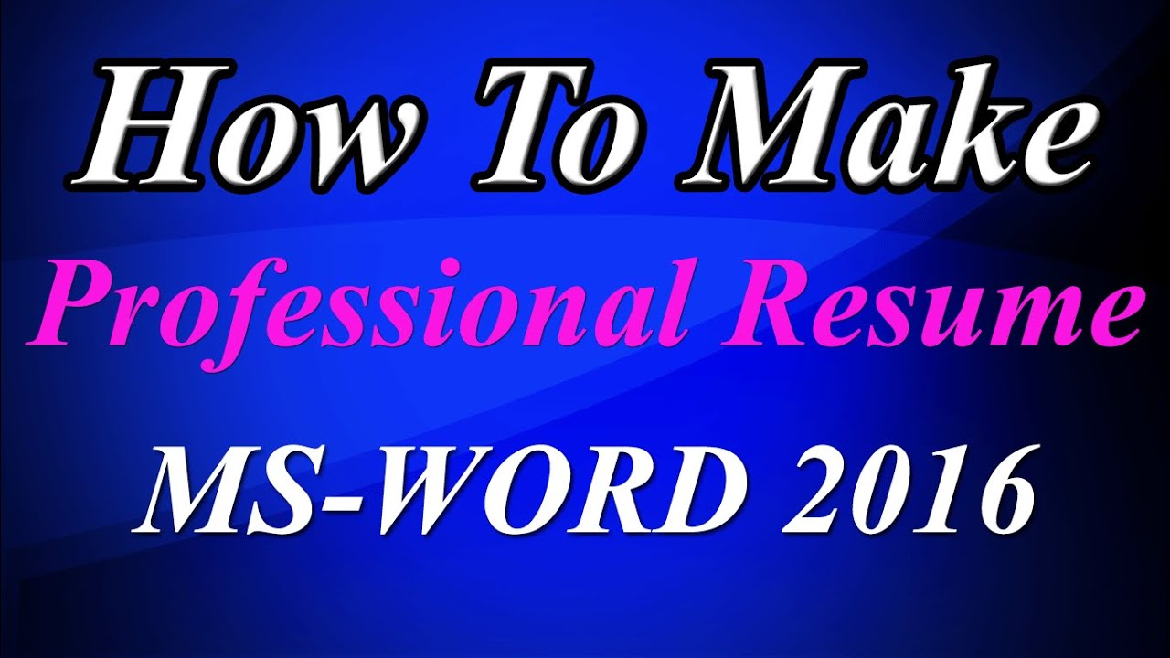 How to Create an easy resume in ms word 2016 in a few minutes - YouTube