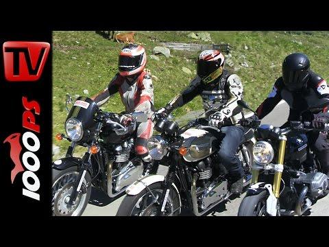 BMW R nineT,Triumph Thruxton, Bonneville - Test in den Alpen | Klassiker Motorräder Foto