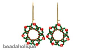 How to Bead Weave the Festive Holiday Flower Earrings