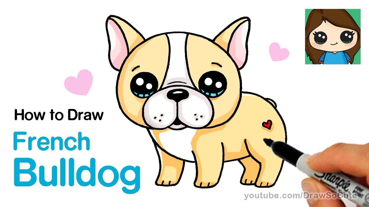 how to draw a french bulldog easy | cartoon puppy - youtube