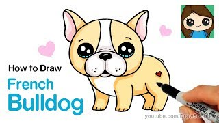 How to Draw a French Bulldog Easy | Cartoon Puppy