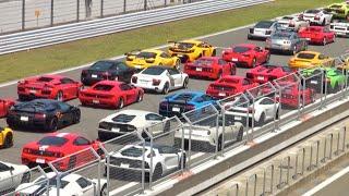 約100台のスーパーカーが直線を全開通過❕/Supercars full accerelation in Japan. PowerCraft exhaust event.