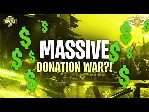 MASSIVE DONATION WAR?! (Fortnite: Battle Royale)