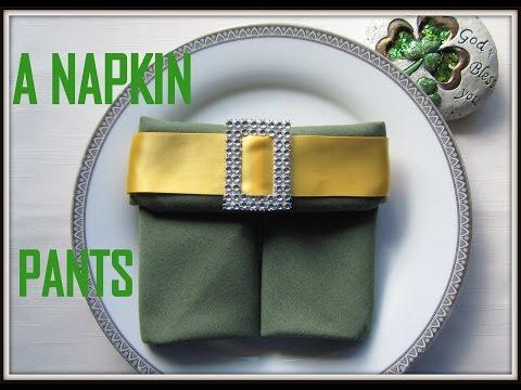 Napkin Folding: a St. Patrick's Pants Napkin