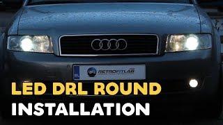 led drl round installation video daytime running light audi a4 b6