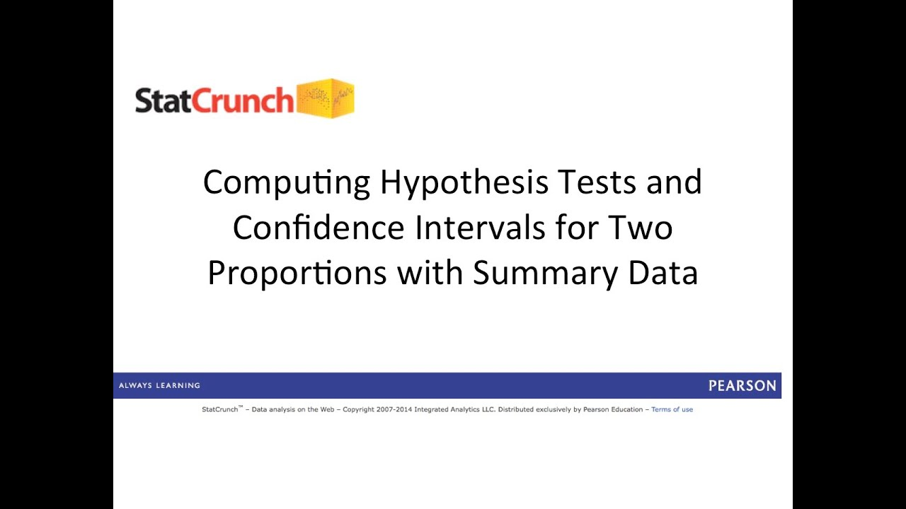 Statcrunch Hypothesis Tests And Confidence Intervals For Two Proportions With Summary Data