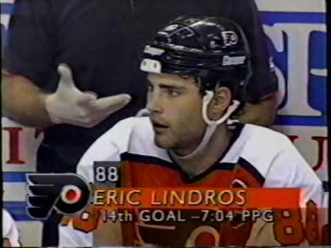 Philadelphia Flyers Lindros 3rd NHL season Goals 12 13 14 15 16 6th Hat Trick 1994-95 Interview
