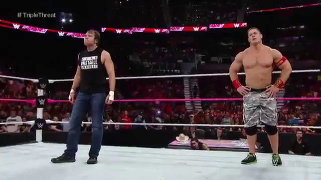 WWE-John Cena   Dean Ambrose vs  The Usos vs  Gold   Stardust   Triple Threat Tag Team Match