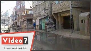 مياه المجارى تغرق شوارع قرية النجارين بدمياط