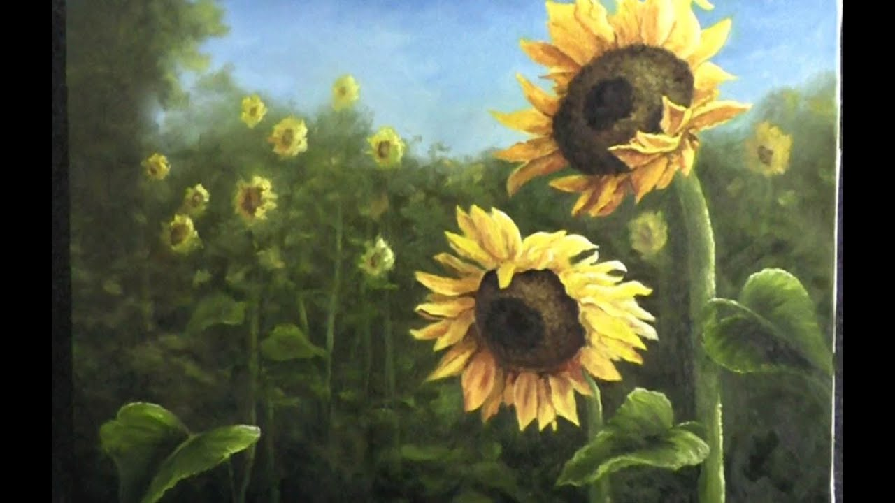 Paint with kevin hill field of sunflowers youtube for How to paint sunflowers in acrylic
