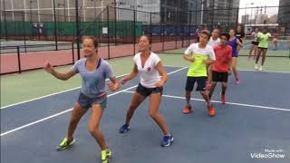 Tennis fitness drills on the court