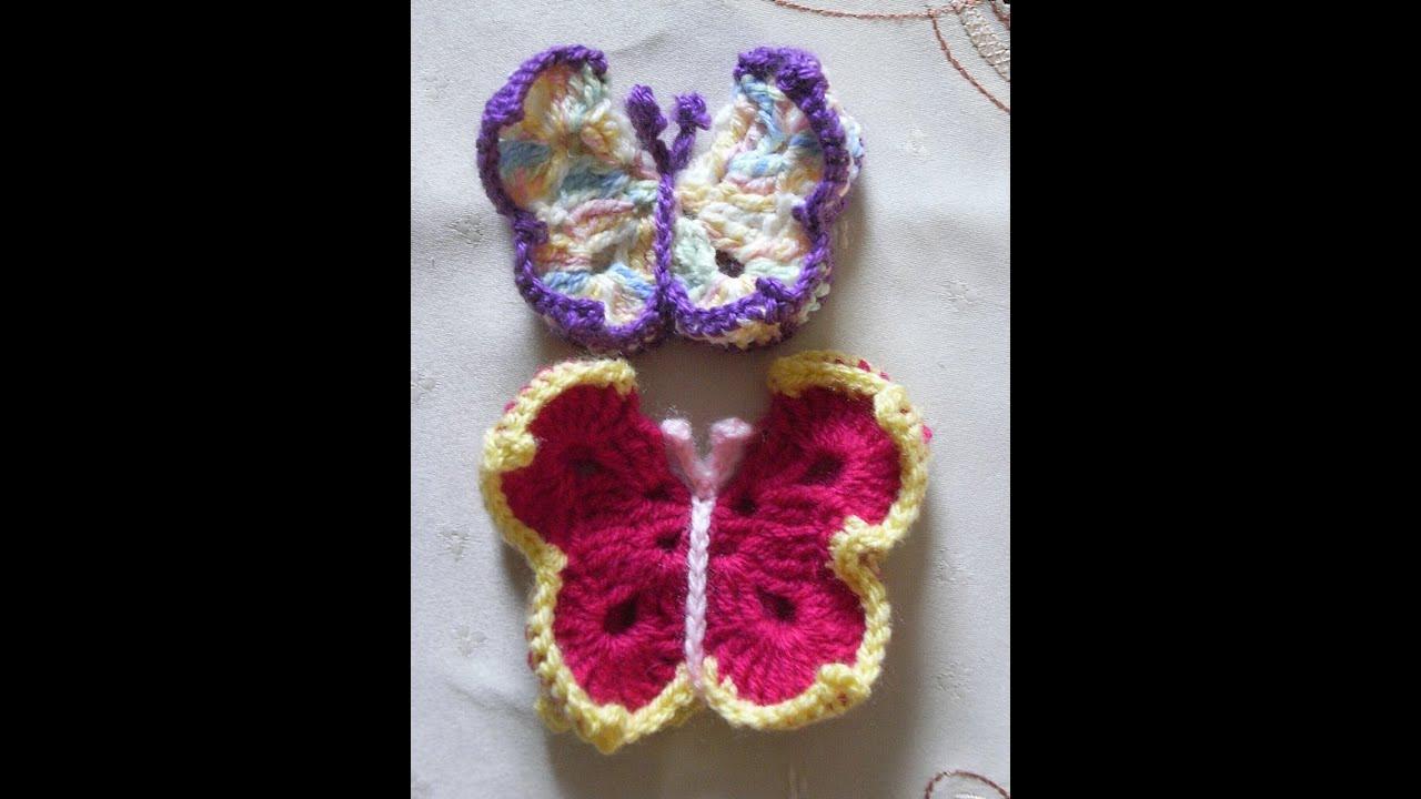 Schmetterling Häkeln Crochet Butterflytutorial Handarbeit Youtube