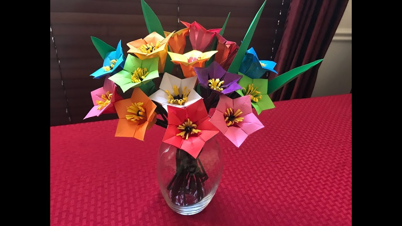 How To Make Paper Flower Bouquet Origami Mothers Day Gift Youtube