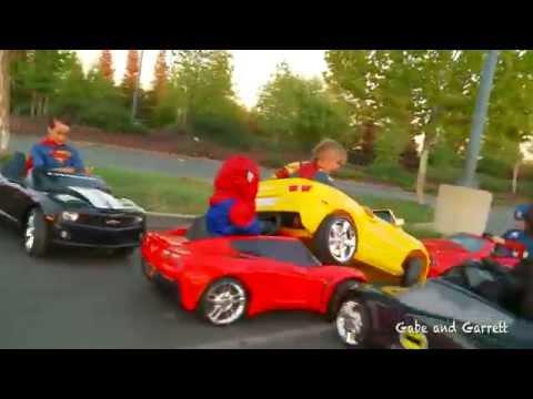 Superheroes Mega Power Wheels Race - 5 Heroes # 2 (with Demolition Derby!)