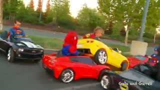 Superheroes Mega Power Wheels Race - 5 Heroes # 2 (with Demolition Derby!)