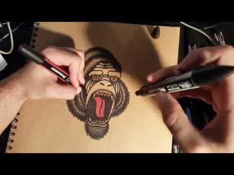 How to Draw an Old School Gorilla by thebrokenpuppet