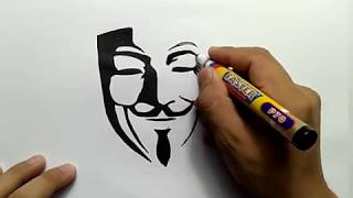 cara menggambar anonymous / how to draw anonymous