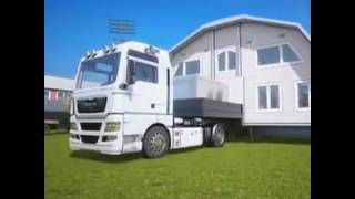 year 2090 future technology.house bulding with lorry
