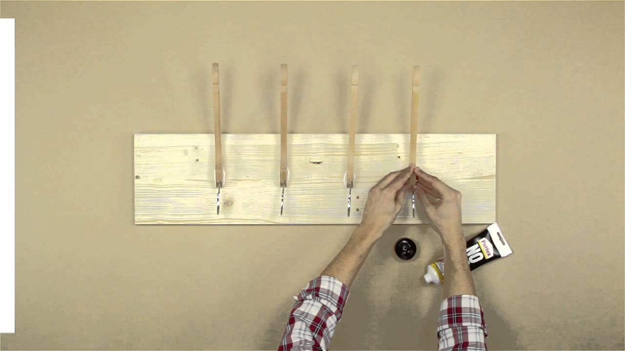 Bricofans convertir unas perchas en un perchero youtube - Perchas de madera blancas ...