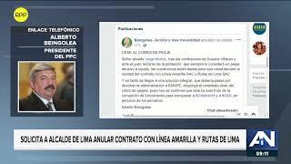 Alberto Beingolea pidió cesar cobro de peajes en Línea Amarilla y Rutas de Lima