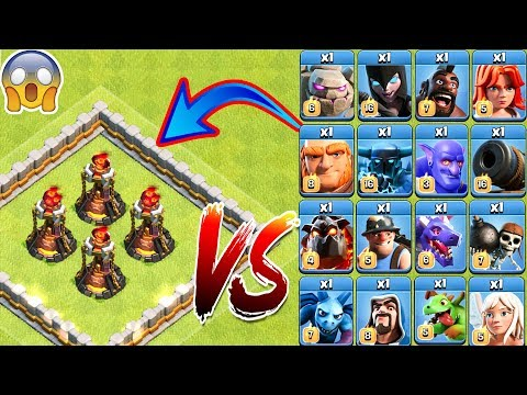 4x Inferno Tower Vs All Troops Clash Of Clans   Max Inferno Tower Vs Every Single Troop COC