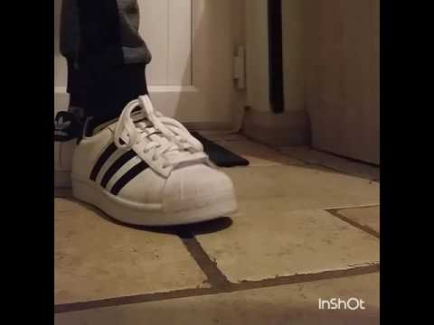 Adidas superstar/mens size 4/overlook on foot