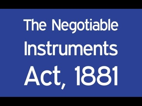 The Negotiable Instruments Act, 1881 - ICAI