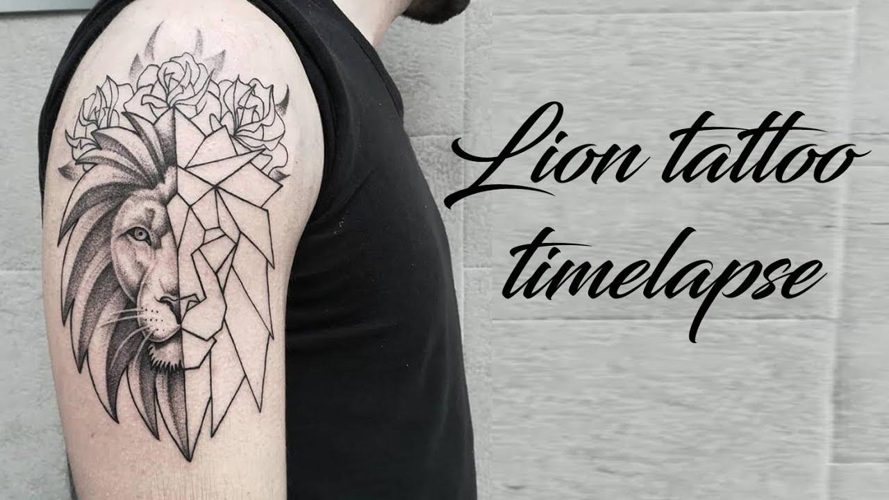 71ed7dccf2ea8 Geometric lion tattoo timelapse - YouTube